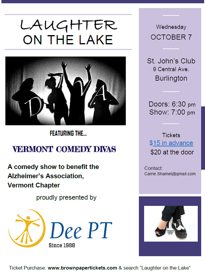 Laughter on the Lake: A Dee PT sponsored comedy show to benefit the Alzheimer's Association