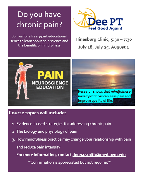 Mindfulness and Pain Education: ways to help manage chronic pain